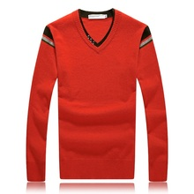 2016 new winter high quality Mink cashmere V-Neck Sweatercoat men,faishion casual sweater men ,RED AND BLACK