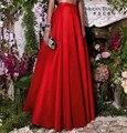Rojo tafetán line fiesta formal estilo cremallera de la manera mujeres de la falda maxi faldas largas de encargo madejupe longue femme