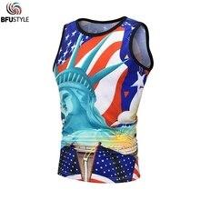 Статуя свободы печати майка Топы 3D лето без рукавов мужской жилет Спортивная гавайская рубашка рубашки Camisa пляжные жилеты EUR