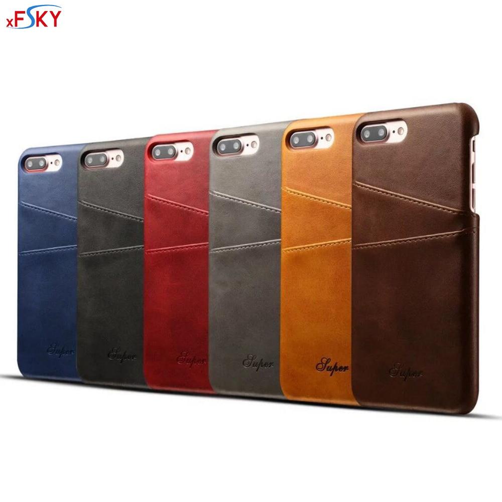 xFSKY Funda de cuero para iPhone 7 4.7 pulgadas Moda Cartera de lujo de la tarjeta Funda suave para iPhone 7 Plus Fundas 5.5 pulgadas