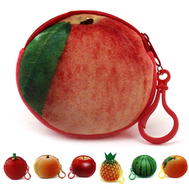 3D Fruit Printing Style Mini Coin Purse Cotton Round Zipper Coin Pouch Kawaii Korean Style Small Change Bag for Teenage Girls 5