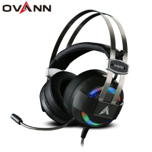 Ovann X300 Computer Gaming Headphones Over Ear PC Headset Shock Deep Bass with Microphone 7.1 Sound Channel LED Light Earphone