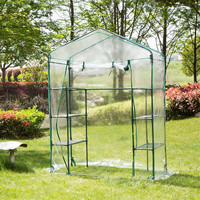 Garden Greenhouse Walk In Green Hot Plant House Shed Storage PE Cover Roof Keep Warm Protect Plants Keep Out Bugs Insects