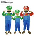 New High quality Super Mario halloween costume for kids girls boys include jumpsuit hat mustache children halloween outfits