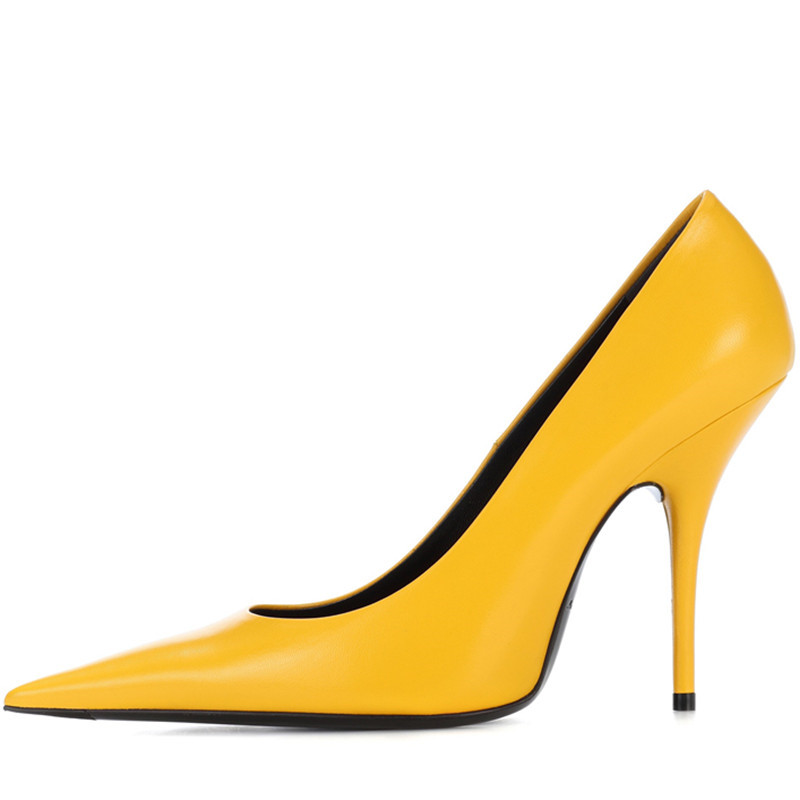 Sexy pointed toe high heels real leather women shallow mouth stilettos thin heel pumps yellow sky blue club party shoes полотенца devilla полотенце senses цвет фиалковый 55х100 см