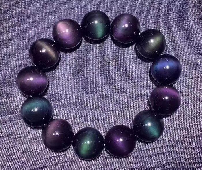 Free shipping >>NICE 16mm mix 100% Natural Mexican Rainbow Obsidian Bead Bracelet цена и фото