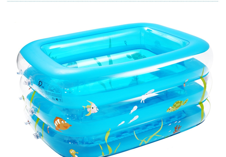 1.2M Large inflatable childrens swimming pool thickening babies play pool multilayer multi ball pool crystal blue