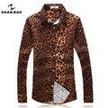 ШАН БАО clothing brand популярный стиль леопарда рубашки мужчины осень 2017 мужская мода Тонкий лацкане рубашку с длинными рукавами размер M-5XL16103