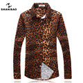 SHAN BAO clothing brand popular style leopard shirt men fall 2017 men's fashion Slim lapel long-sleeved shirt size M-5XL16103