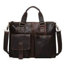 100% aus echtem Leder Aktentaschen Vintage Männer Schultertasche Rindsleder Reise Umhängetasche Viele Taschen Mann Laptop-tasche GW07