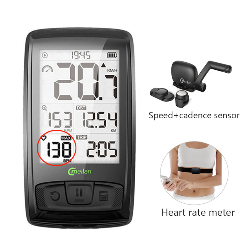 Sports Bike Wireless Bicycle Computer Speedmeter Cadence Heart Rate Meter I4W2