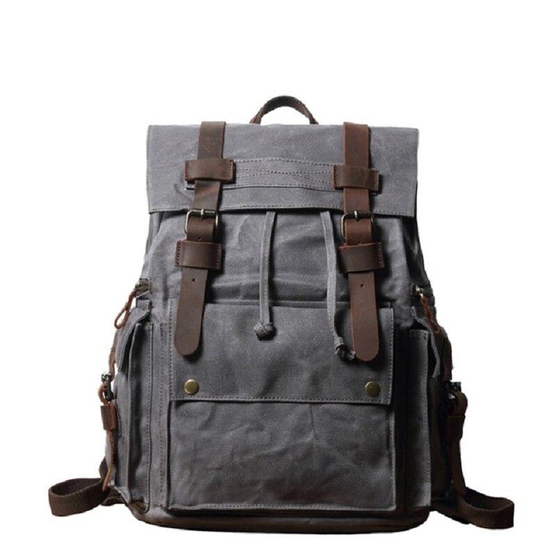M289 nouvelle grande capacité toile cuir sacs à dos Vintage chaîne sacs à dos rétro imperméable voyage sacs à dos adolescents Mochila