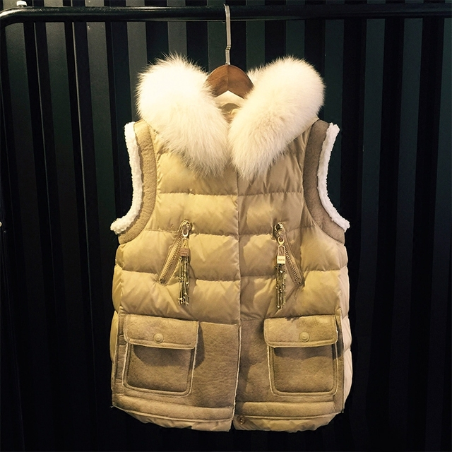 Winter Vest Waistcoat Womens Sleeveless Jacket Big Fake Fur Collar Hooded Solid color Down Cotton Warm Vest Female Tops MZ974