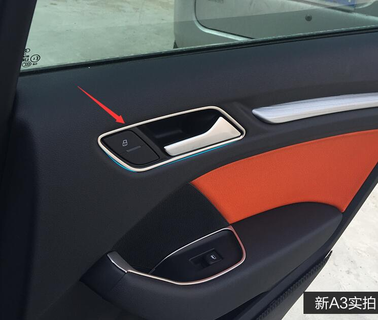 stainless steel Styling Interior Inner Side Door Handle Bowl Trim For <font><b>Audi</b></font> <font><b>A3</b></font> <font><b>8V</b></font> <font><b>Sedan</b></font> Hatchback Sportback 2013-2017 image