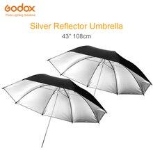 """2 個 Godox 43 """"108 センチメートルリフレクター傘フォトスタジオフラッシュライトグレインブラックシルバーアンブレラ"""