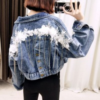 Women Fashion Slim Short Denim Jacket With Chains Floral Embroidery Female Loose Jean Coat Ladies Casual Outerwear Womens Tops