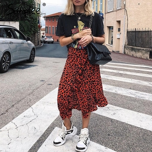 Image 4 - Simplee סקסי נמר midi עיפרון חצאית נשים סתיו גבוהה מותן לפרוע אדום ילדה חצאיות 2018 בציר נשי קוריאני חורף חצאית