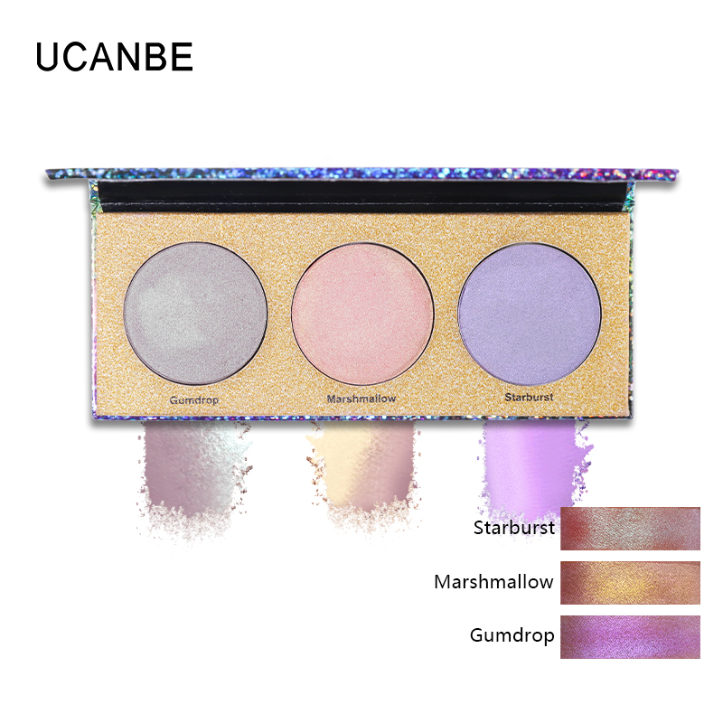 UCANBE 3 Colors Duochrome Crystal Highlighter Powder Palette Multi use Holographic Makeup Kit Glow Shimmer Radiance Face Finish in Bronzers Highlighters from Beauty Health