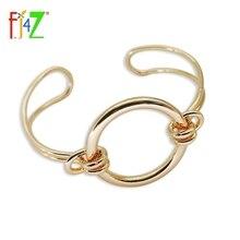 F.J4U 2016 New Design Fashion Punk Gold Silver Black Copper Circle Adjustable Womens Bangles Bracelets pulseiras de couro