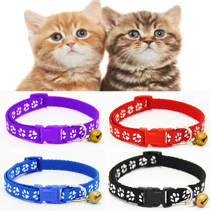 Sale Cute Nylon Dog Puppy Cat Collar Breakaway Adjustable Cats Collars With Bell And Bling Paw Charm Width 1.0cm