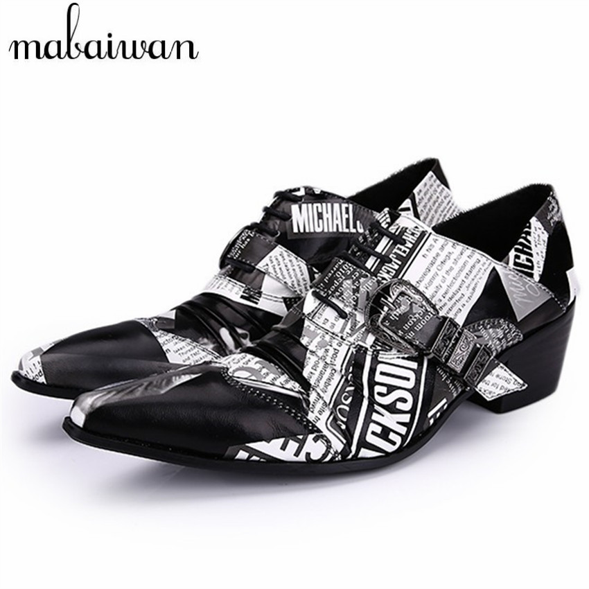New Luxury Mens Black White Print Wedding Dress Shoes Printed Toe Prom Party Oxford Shoes for