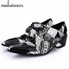 Nuevos Mens De Lujo Negro Blanco Zapatos de Vestir Toe Impreso Partido Prom Boda de La Impresión Zapatos Oxford para Los Hombres Oxfords Sapatos Masculino