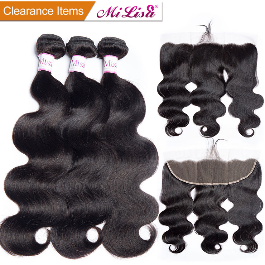Hair Extensions & Wigs Malaysian Body Wave 360 Lace Frontal Closure With Bundle Human Hair 3 Bundles With Closure Alipop 360 Lace Frontal Remy 4 Pcs Human Hair Weaves