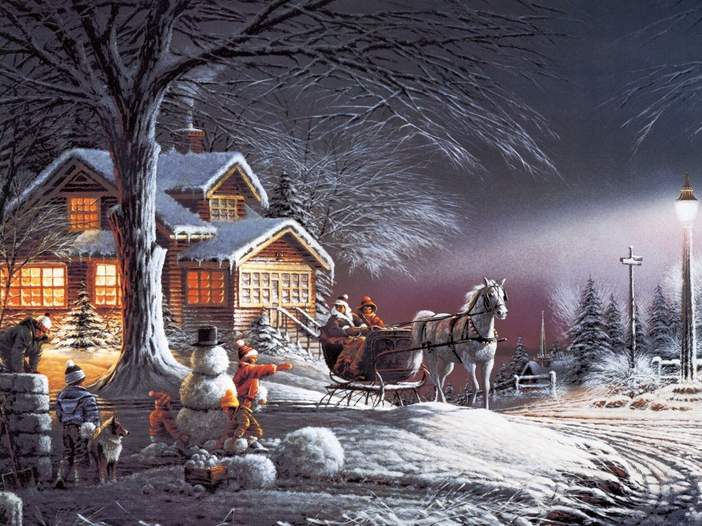 4 led lights free shipping Christmas Wall Art Canvas Print streched,horsecart painting winter scape view for home decor