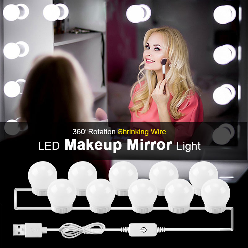 Hollywood Stil <font><b>LED</b></font> Eitelkeit Spiegel Lichter Kit mit Dimmbare Glühlampen Leuchte Streifen Für Make-Up Spiegel Eitelkeit Tisch Set image