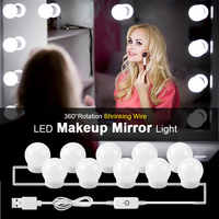 Hollywood Style LED Vanity Mirror Lights Kit with Dimmable Light Bulbs Lighting Fixture Strip For Makeup Mirror Vanity Table Set