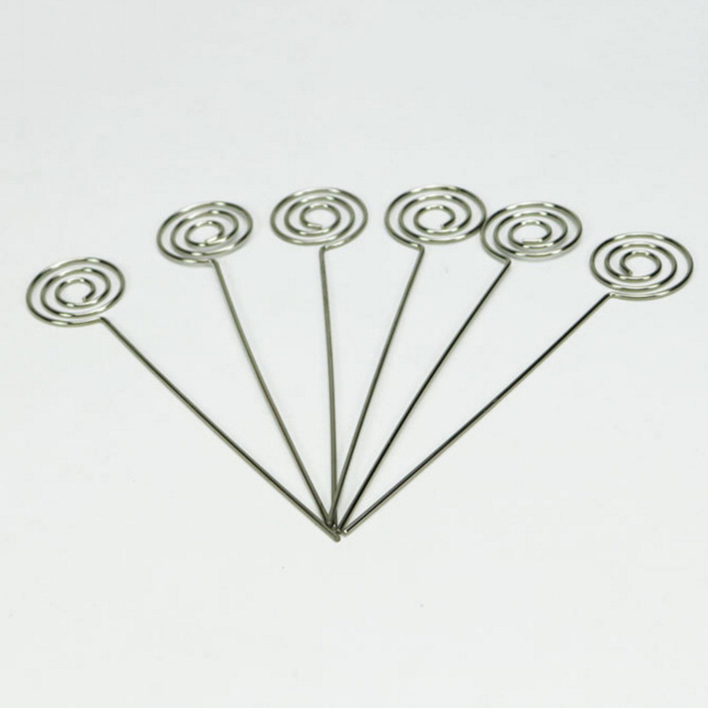 50/Pack Place Card Holder Pick,Ring Loop Swirl Wire Clip Photo Metal Clamp For DIY Craft & Gift Making, Note Memo Holder(Silve