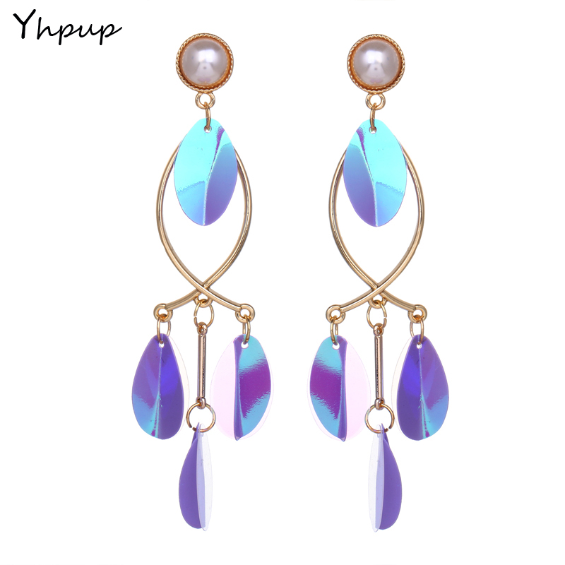 Yhpup 2018 Newest Paillette Trendy Fish Dangle Candy Charm Cute Earrings For Women Wedding Party Des boucles doreilles Gift