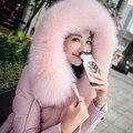 Cuero de gamuza rosa de las mujeres abrigo de invierno de piel de oveja de cuero genuino abajo zorro abrigo de pieles capucha down jacket envío gratis Nuevo Phoenix1123A