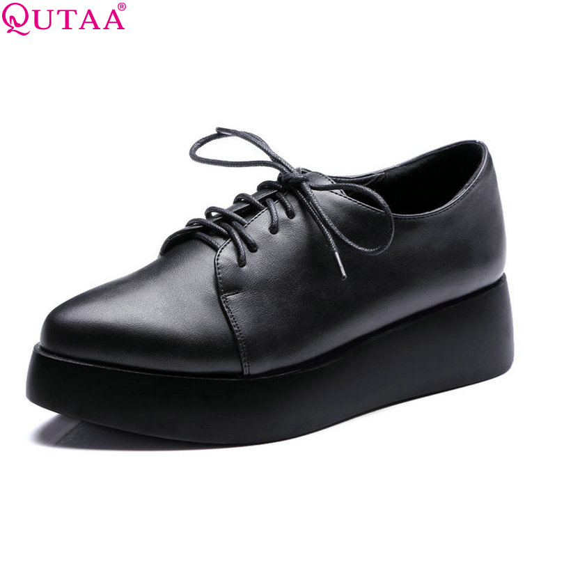 ФОТО QUTAA 2017 Women Pumps Wedge High Heel Pointed Toe Lace Up Platform PU leather Ladies Wedding Shoes Size 34-42