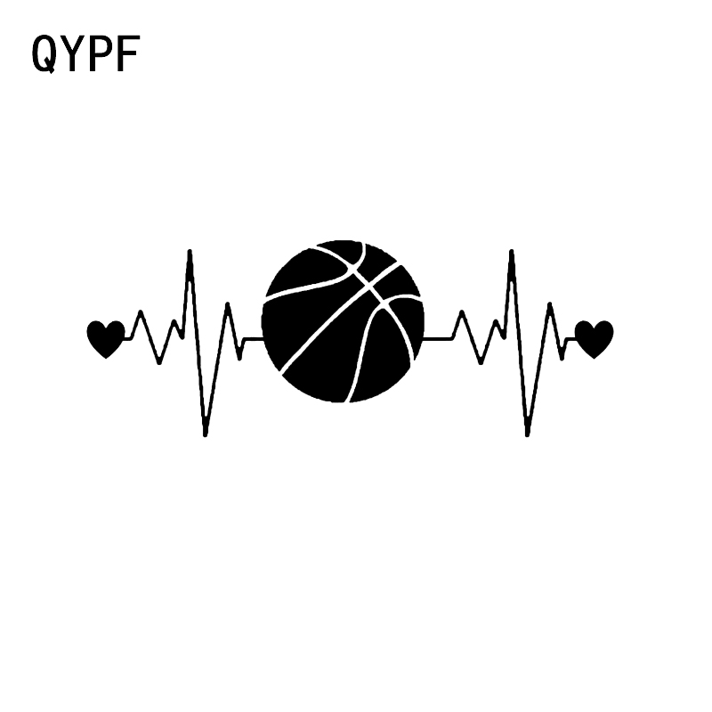 QYPF 16.2*6.2CM Interesting Heartbeat Lifeline Basketball Car Sticker Decor Vinyl High Quality C16-0453