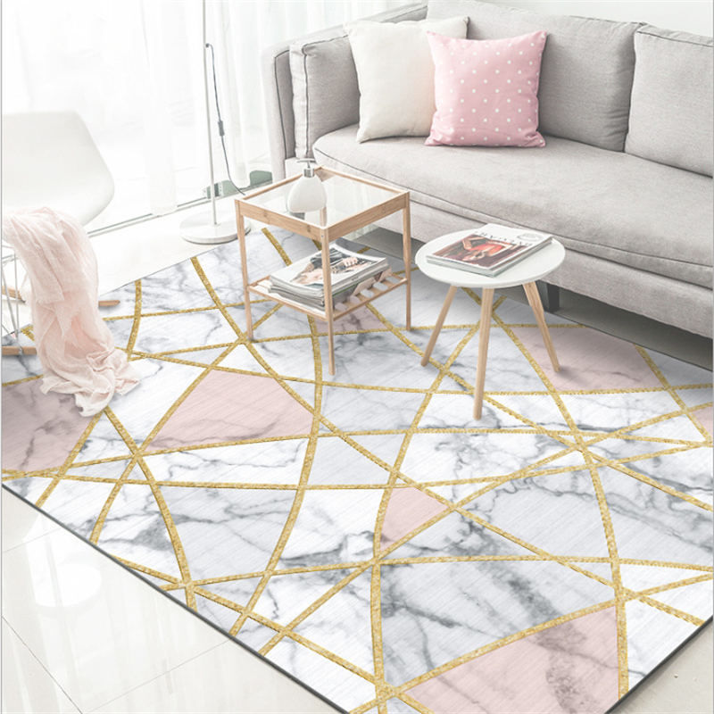 Aovoll soft modern nordic white marble gold line carpets - Gold rugs for living room ...