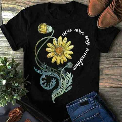 Flower You Are My Sunshine T Shirt Heart Flower Black Cotton Men S-6XL US Stock Cool Casual pride t shirt men Unisex Fashion