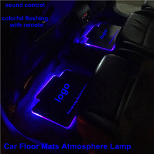 OCSION 2pcs Car Interior Atmosphere Lamp Floor Mats LED Decorative Sound control Colorful flashing Light RGB With Remote