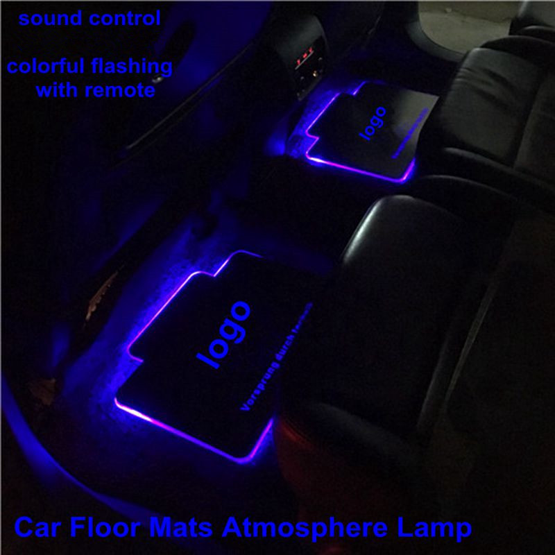 2pcs Car Interior Atmosphere Lamp Floor Mats LED Decorative Lamp Sound control Colorful flashing Light RGB With Remote