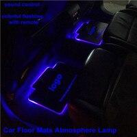 OCSION 2 cái Xe Nội Thất Bầu Không Khí Đèn Thảm Sàn LED Trang Trí Lamp Sound kiểm soát nhấp nháy Nhiều Màu Sắc Ánh Sáng RGB Với Remote