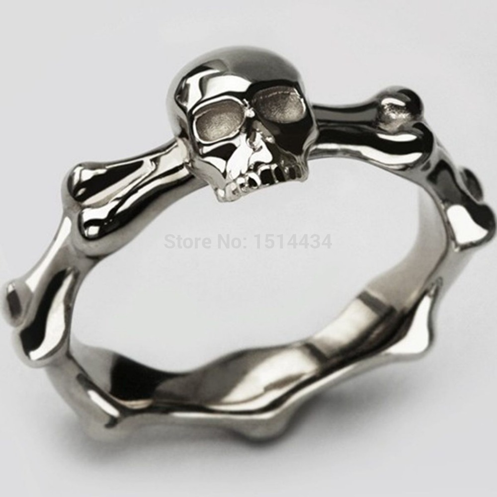 Size 5-15  Stainless Steel Punk Hiphop Biker Gothic Skeleton Skull Bone Death Cocktail Ring Band