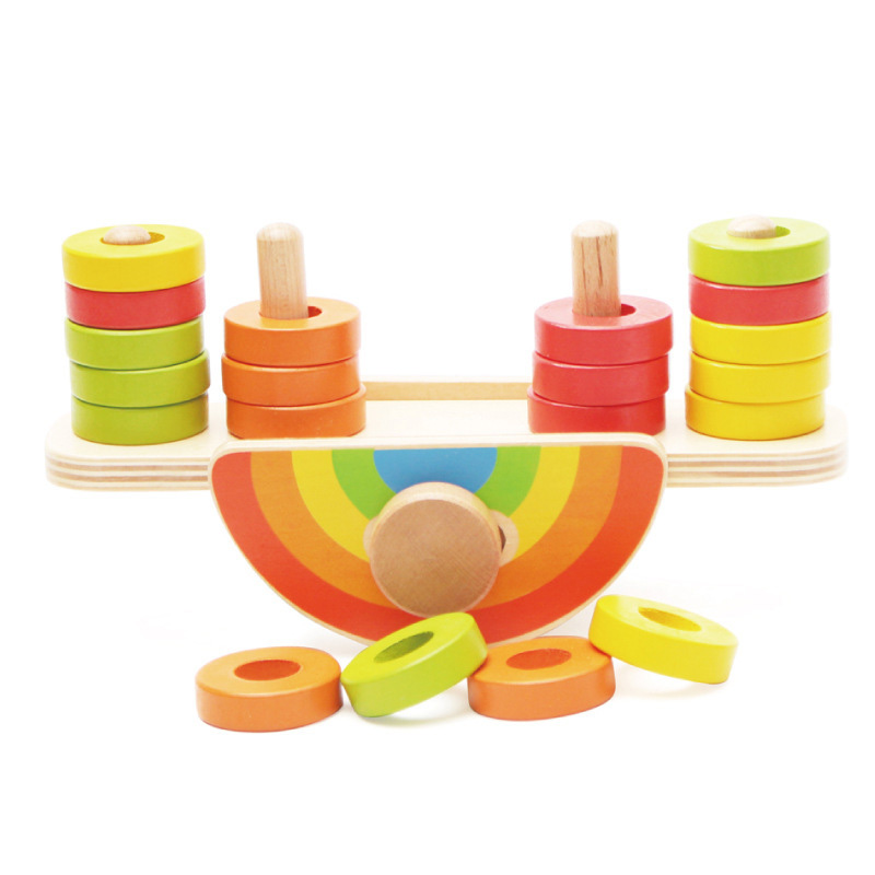 Logwood Rainbow blocks balance beam Montessori  Wooden toys Educational toys for children boys girls gift montessori educational wooden toys for children knobless cylinder montessori 4 sets of 10 cylinders great gift for kids