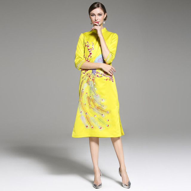 Yellow Cheongsam Dress Women Phoenix Embroidery Qipao Pattern Modern Long  Traditional Chinese Oriental Wedding Gowns Dresses 7bbc9e3ef71d