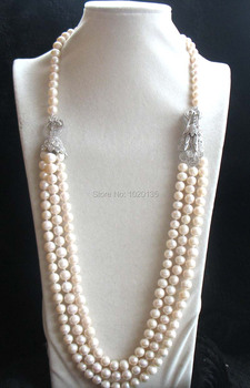 3rows  freshwater pearl  near round 8-9mm necklace 28-30inch and dragon clasp FPPJ