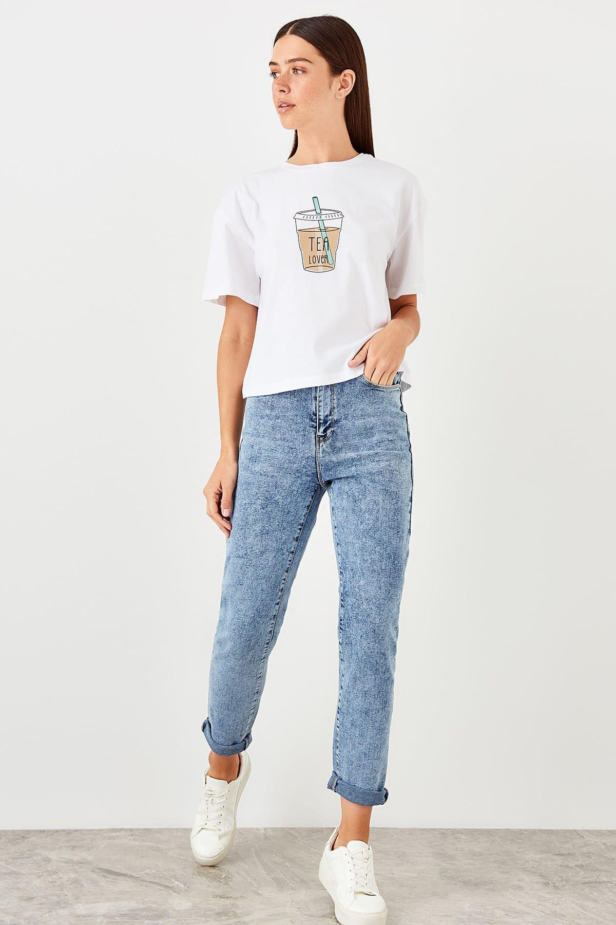 Trendyol Blue High Waist Slim Mom Jeans TWOAW20JE0009