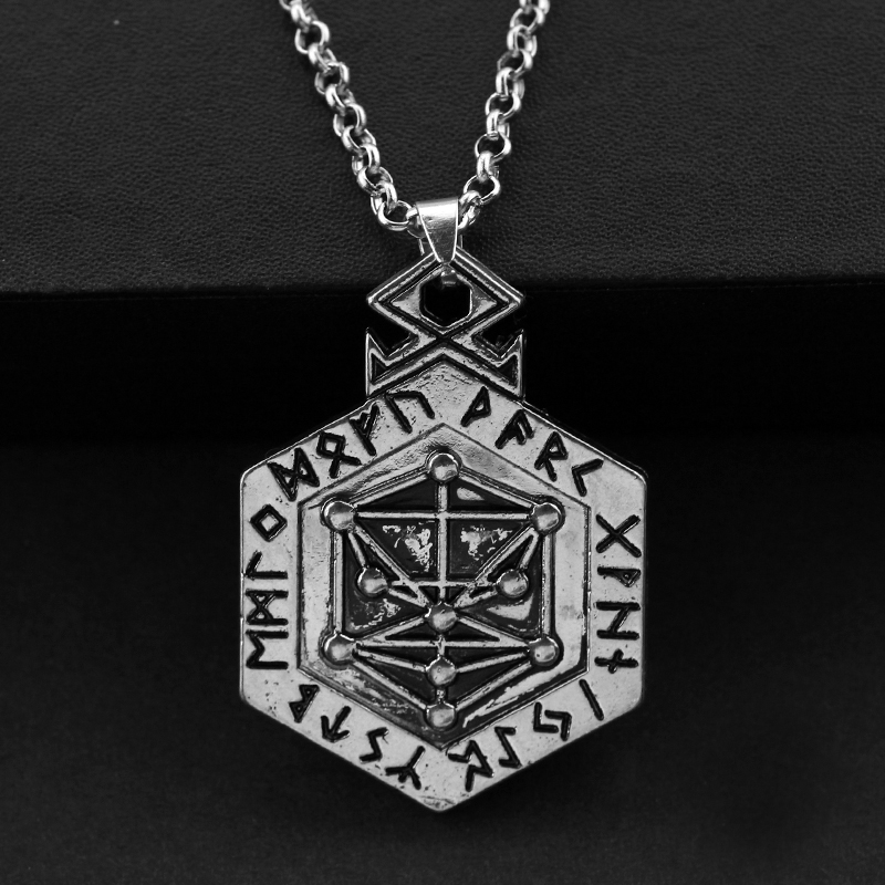 Vintage Nordic Runes Tree of Life Charms Kabbalah Necklace Pagan Jewelry for Men