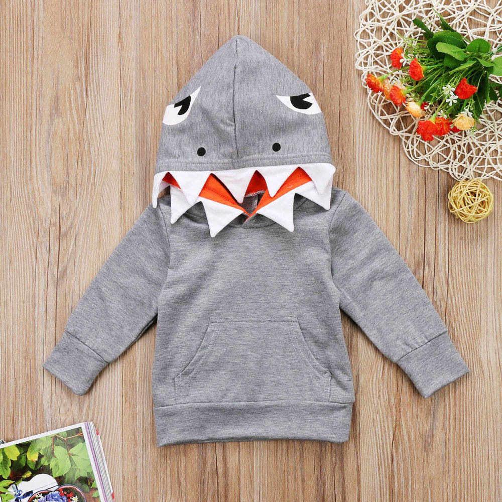 8def3443d90d6 ... Toddler Baby Kids Boys Girls Long Sleeves Cartoon Shark Hooded Top Clothing  Cartoon coat Hoodies Sweatshirt ...