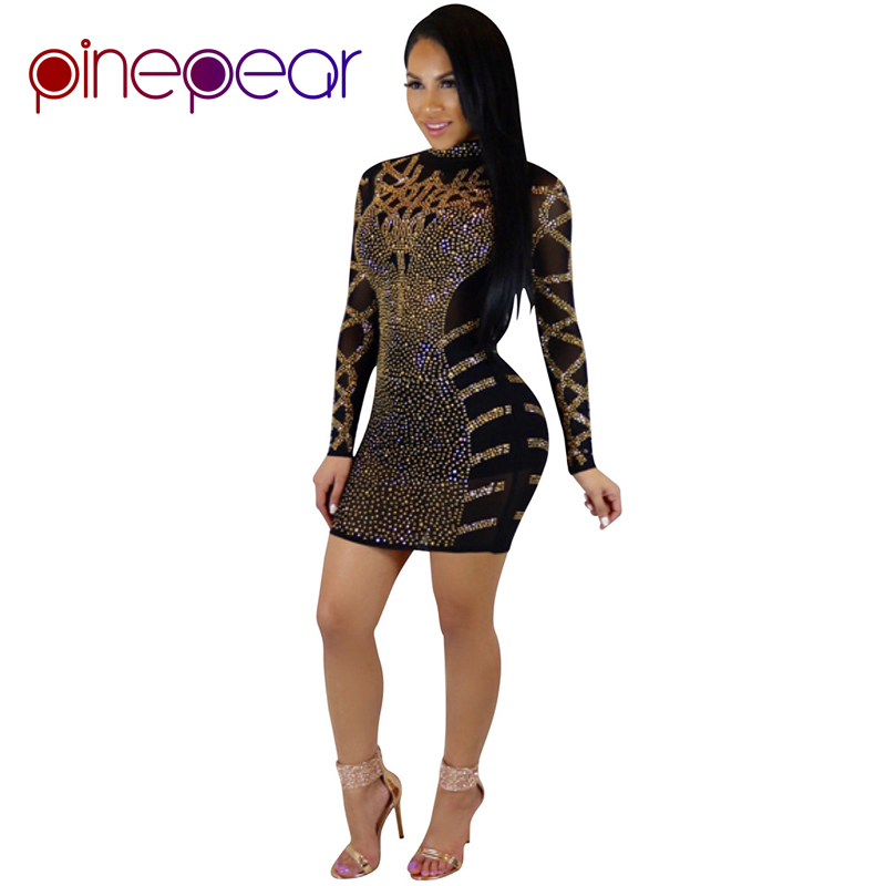 PinePear Glitter Diamond Dress 2019 Long Sleeve Bodycon Birthday Dresses  Women Sexy Sequin Crystal Party Club Shining Vestido f1e199fe156c
