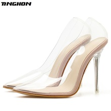 TINGHON NEW Sexy PVC Transparent Pointed Toe High Heels Shoes Women Pumps Stiletto Summer Super Heeled Party Pump