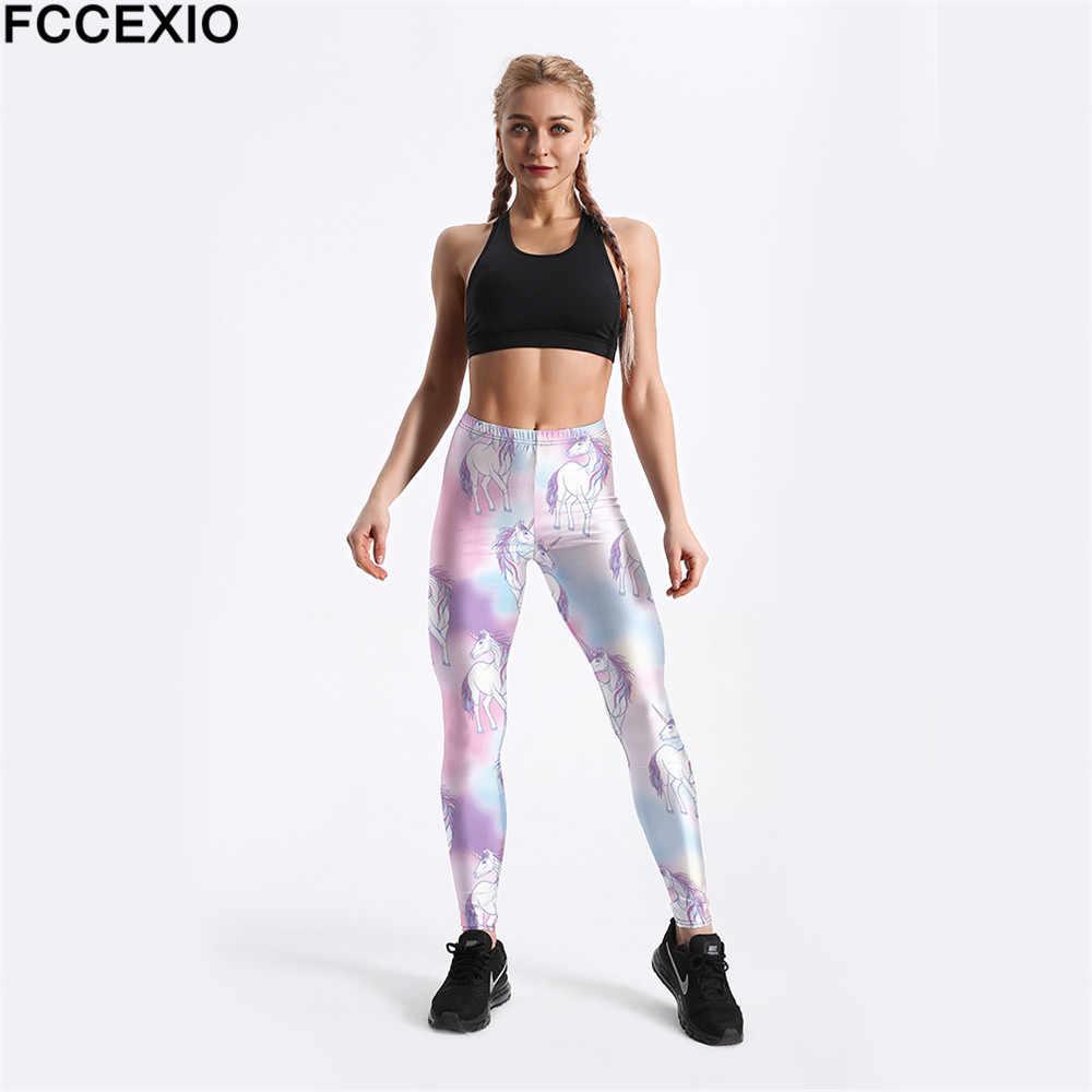 FCCEXIO ใหม่ออกกำลังกาย Leggings เอวฟิตเนส Legging Rainbow Unicorn 3D พิมพ์กางเกงขายาวหญิงขากางเกงขนาดใหญ่ Leggings